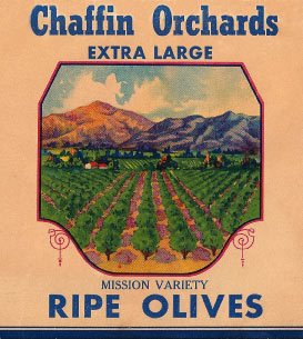 Chaffin Mission Olives Vintage Label